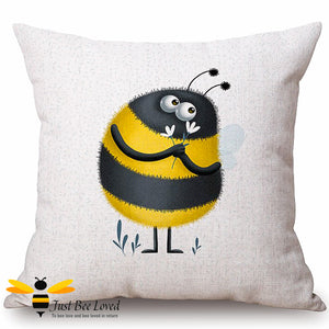 Large scatter cushion featuring a colourful image of a sweet bumblebee presenting flowers on a natural background.