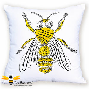 Scatter cushion featuring a contemporary artistic image of a honey bee drawing