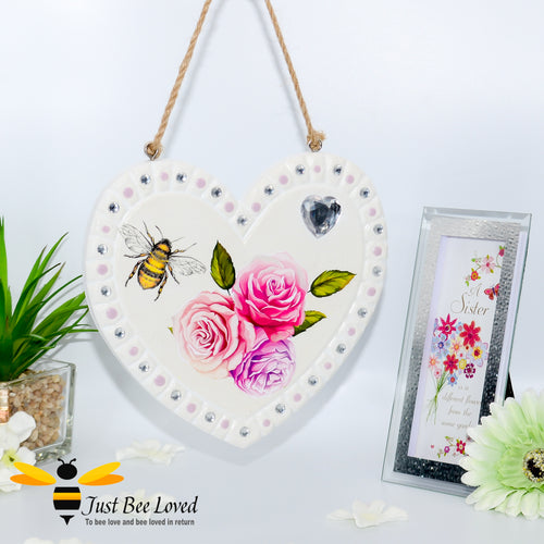 Handmade decoupage love heart plaque painted and decorated with bee, flowers, and crystals.