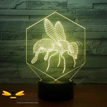 Load image into Gallery viewer, 3D Optical Illusion Honey Bee Colour Changing Lamp