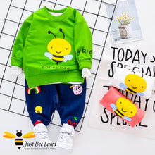 Load image into Gallery viewer, children's colourful sweatshirt & jeans set features a cute honey bee front print with matching dark denim jeans with animals and rainbows.