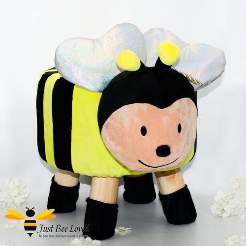 Children's kids bumble bee character plush padded wooden footstool seat chair