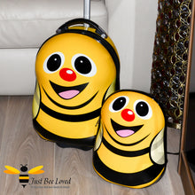 Load image into Gallery viewer, Children's Bumble Bee Wheeled Pulley Luggage Suitcase and matching backpack set