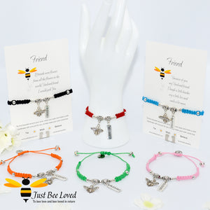Handmade Shamballa Bee Charm bracelets for friend with sentimental verse cards