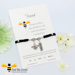 Handmade Black Shamballa Bee Charm bracelet for friend with sentimental verse cards