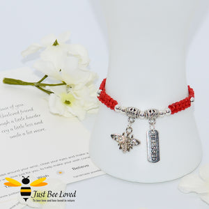 Handmade red Shamballa Bee Charm bracelet for friend with sentimental verse cards