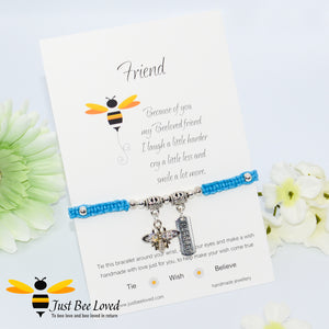 Handmade blue Shamballa Bee Charm bracelet for friend with sentimental verse cards