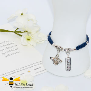 Handmade navy Shamballa Bee Charm bracelet for friend with sentimental verse cards