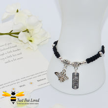 Load image into Gallery viewer, Handmade Black wish Bee Charm bracelet for friend with sentimental verse cards