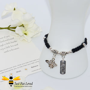 Handmade Black wish Bee Charm bracelet for friend with sentimental verse cards
