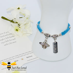 Handmade blue Shamballa Bee Charm wish bracelet for friend with sentimental verse cards