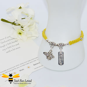 Handmade yellow Shamballa Bee Charm wish bracelet for friend with sentimental verse cards