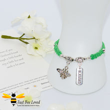 Load image into Gallery viewer, Handmade green Shamballa Bee Charm bracelet for friend with sentimental verse cards