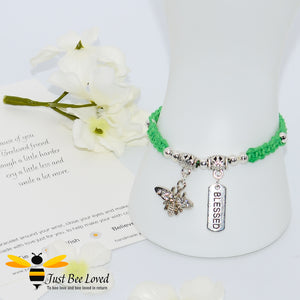 Handmade green Shamballa Bee Charm bracelet for friend with sentimental verse cards