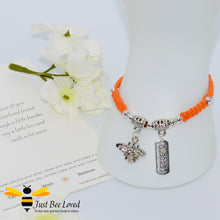 Load image into Gallery viewer, Handmade orange Shamballa Bee Charm wish bracelet for friend with sentimental verse cards