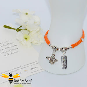 Handmade orange Shamballa Bee Charm wish bracelet for friend with sentimental verse cards