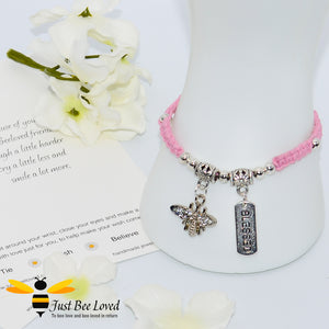 Handmade pink Shamballa Bee Charm wish bracelet for friend with sentimental verse cards