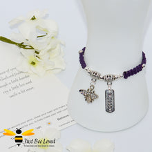 Load image into Gallery viewer, Handmade purple Shamballa Bee Charm wish bracelet for friend with sentimental verse cards