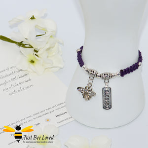 Handmade purple Shamballa Bee Charm wish bracelet for friend with sentimental verse cards