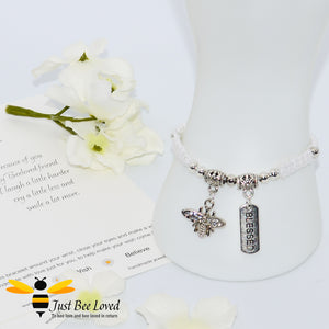 Handmade white Shamballa Bee Charm wish bracelet for friend with sentimental verse cards