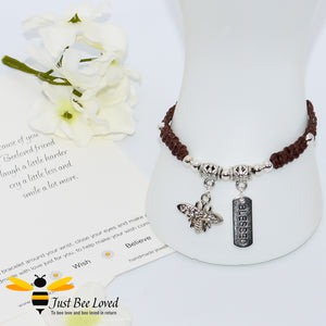 Handmade brown Shamballa Bee Charm wish bracelet for friend with blessed tag charm and sentimental verse cards