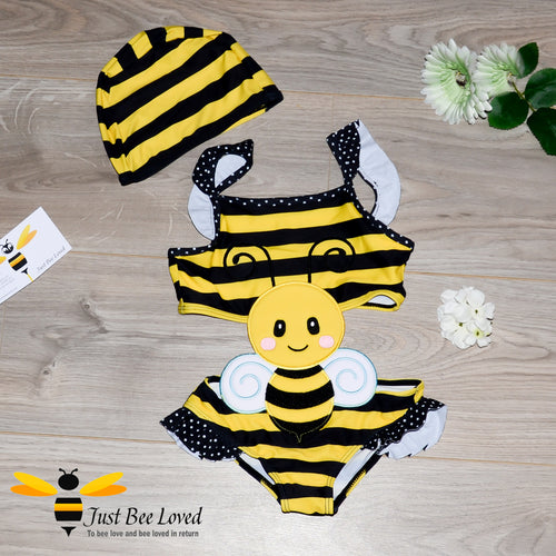 Girl's 1 piece bumble bee bathing bikini swimsuit with matching swimming hat