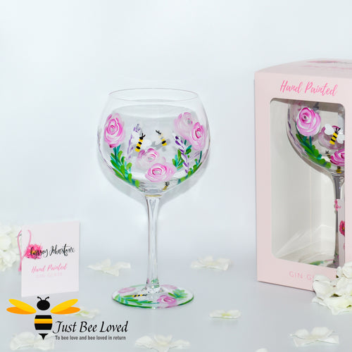 tall stemmed balloon gin glass hand painted with bumble bees and roses by Scottish artist Lynsey Johnstone