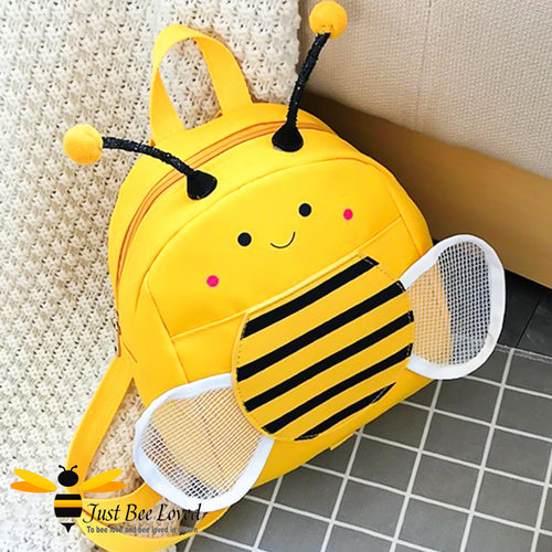 Just Bee Loved Children's Safety Harness Bumble Bee Backpack with cute antennae, white mesh wings and smiley bee face in colour yellow with black stripes
