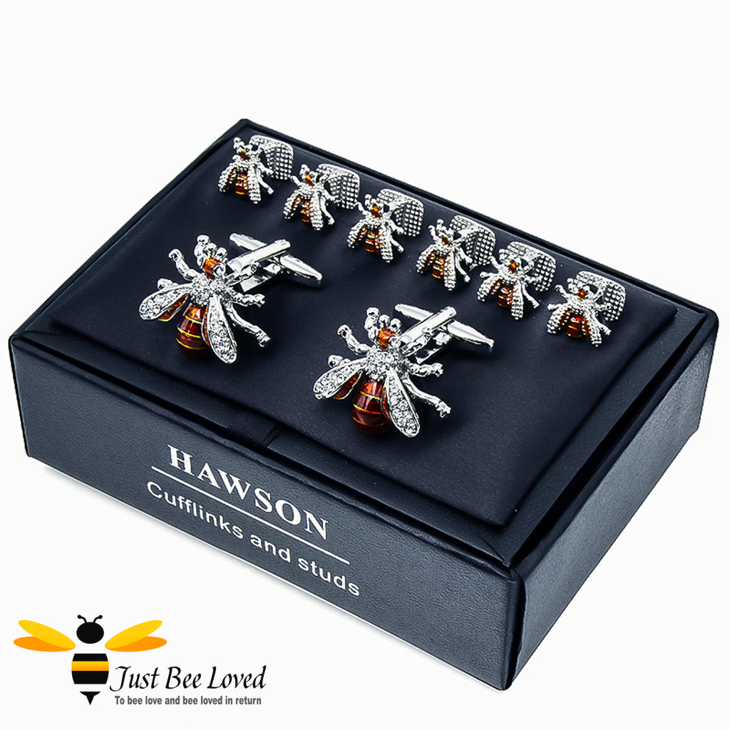 From the HAWSON collection, crystal bee designed cufflinks and tuxedo studs gift set. Includes rhinestone crystal encrusted cufflinks and matching studs.  Gift box presented.