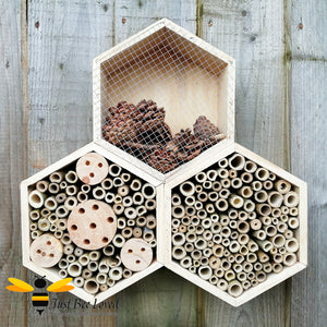 Triple hexagon bee and insect hotels