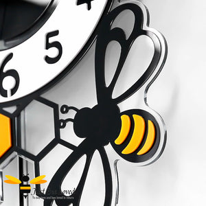 large honeycomb and bee pendulum wall clock with wall decor bees.