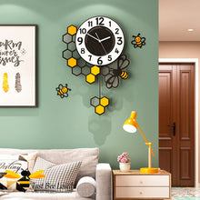 Load image into Gallery viewer, large honeycomb and bee pendulum wall clock with wall decor bees.
