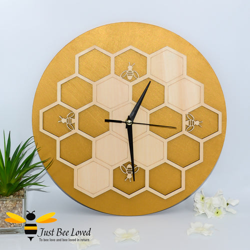 natural birch wood honeycomb bee round wall clock