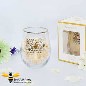 honeycomb and bees gold rimmed stemless wine glass