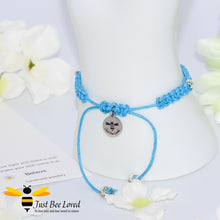 Load image into Gallery viewer, handmade Shamballa wish mother bracelet in blue featuring Just Bee Loved engraved charm with sentimental verse card
