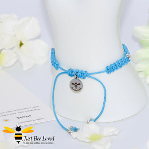 handmade Shamballa wish mother bracelet in blue featuring Just Bee Loved engraved charm with sentimental verse card