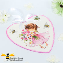 Load image into Gallery viewer, Handmade decoupaged wooden love heart plaque painted and decorated with bumblebees and cute girl holding a bunch of flowers