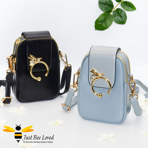 Diamante Bee Mobile and Headphone Crossbody Bags in blue and black