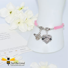 "Load image into Gallery viewer, handmade Shamballa wish mother bracelet in pink featuring a bee and love heart engraved with ""Mom"" with sentimental verse card"