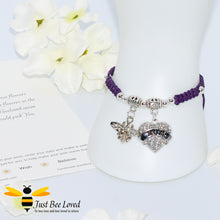 "Load image into Gallery viewer, handmade Shamballa wish mother bracelet in purple featuring a bee and love heart engraved with ""Mom"" with sentimental verse card"