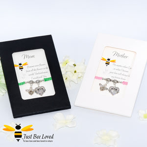 "handmade Shamballa wish mother bracelets featuring a bee and love heart engraved with ""Mom"" with sentimental verse cards"