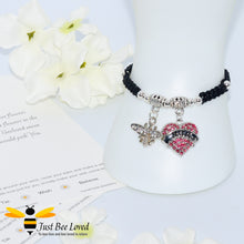 "Load image into Gallery viewer, handmade Shamballa wish mother bracelet in black featuring a bee and love heart engraved with ""Mom"" with sentimental verse card"