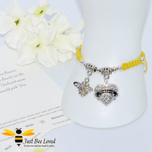 "Load image into Gallery viewer, handmade Shamballa wish mother bracelet in yellow featuring a bee and love heart engraved with ""Mom"" with sentimental verse card"