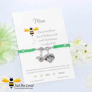 "handmade Shamballa wish mother bracelet in green featuring a bee and love heart engraved with ""Mom"" with sentimental verse card"
