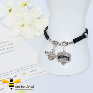 "handmade Shamballa wish mother bracelet featuring a bee and love heart engraved with ""Mom"" with sentimental verse card"