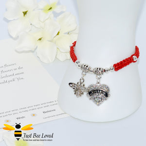 "handmade Shamballa wish mother bracelet in red featuring a bee and love heart engraved with ""Mom"" with sentimental verse card"