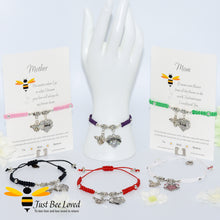 "Load image into Gallery viewer, handmade Shamballa wish charm bracelets featuring a bee and love heart engraved with ""Mom"" with sentimental verse card"
