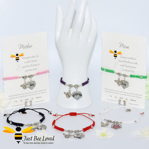 "handmade Shamballa wish charm bracelets featuring a bee and love heart engraved with ""Mom"" with sentimental verse card"
