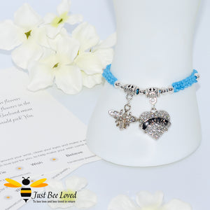 "handmade Shamballa wish mother bracelet in light blue featuring a bee and love heart engraved with ""Mom"" with sentimental verse card"