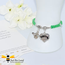 "Load image into Gallery viewer, handmade Shamballa wish charm bracelet in green featuring a bee and love heart engraved with ""Mom"" with sentimental verse card"